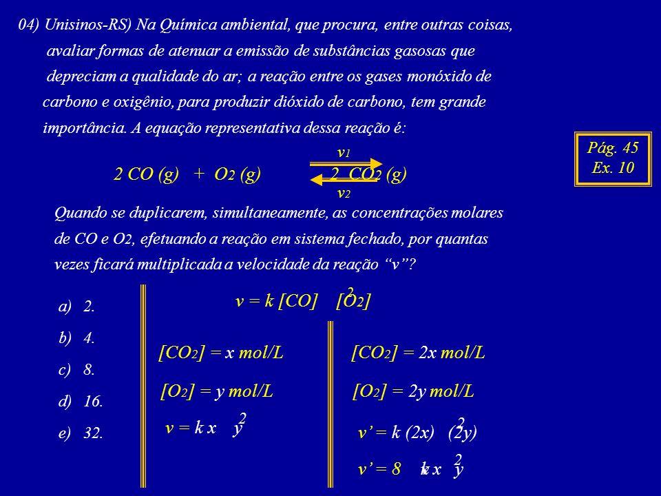 2 CO (g) + O2 (g) 2 CO2 (g) v = k [CO] [O2] [CO2] = x mol/L